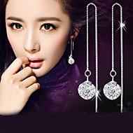 Homens Mulheres Brincos Compridos Imitação de Diamante Moda Elegant bijuterias Prata de Lei Cristal Imitações de Diamante Bola Jóias Para