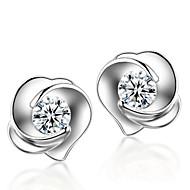 Brincos Curtos Moda Prata de Lei Cristal Formato de Flor Rose Prata Jóias Para Casamento Festa Diário 2pçs