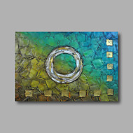 "Ready to hang Stretched Hand-Painted Oil Painting 36""x24"" on Canvas Wall Art Abstract Heavy Oils Blue Golden"