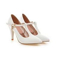 baratos Sapatos Femininos-Mulheres Sapatos Courino Primavera / Verão Tira em T Salto Agulha Gliter com Brilho / Presilha Branco / Preto / Vermelho / Casamento