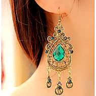 Kadın's Kristal Armut Damla Küpeler Küpeler Damla Bayan Vintage Avrupa Moda Wiktoriańskie Mücevher Yeşil Uyumluluk