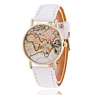Kadın's Moda Saat Bilezik Saat Quartz Dünya Haritası Desen PU Bant Dünya Haritası Desen Siyah Beyaz Kahverengi