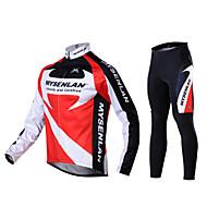 Mysenlan Muškarci Dugih rukava Biciklistička majica s tajicama - Crna/crvena Bicikl Biciklizam Hulahopke Biciklistička majica Hlače
