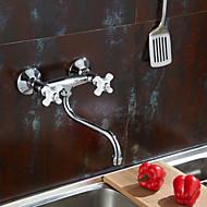 お買い得  キッチン用蛇口-コンテンポラリー バー/準備 壁式 真鍮バルブ 二つのハンドル二つの穴 クロム, 水栓
