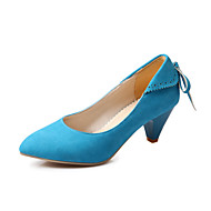 cheap Women's Heels-Women's Shoes Fleece Spring Summer Comfort Heels Walking Shoes Cone Heel Pointed Toe Bowknot Lace-up for Casual Office & Career Dress
