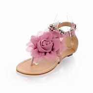 baratos Sapatos Femininos-Mulheres Sapatos Courino Primavera / Verão Conforto Sem Salto Laço / Pérolas Bege / Azul / Rosa claro