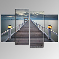 cheap Prints-VISUAL STAR®Bridge on Sea Landscape Canvas Wall Art Modern Wall Decor Canvas Art Ready to Hang
