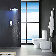 Two Handles Chrome Thermostatic Bathroom Shower Faucet, 12 Inch LED Rainfall Shower Head / Brass Hand Shower Included