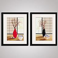 Blomstret/Botanisk Still Life abstrakt fritid Innrammet Kunstrykk Innrammet Lerret Innrammet Sett Veggkunst,PVC Materiale med ramme For