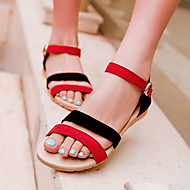 baratos Sapatos Femininos-Mulheres Camurça Primavera / Verão Salto Plataforma Combinação Preto / Roxo / Preto / Vermelho