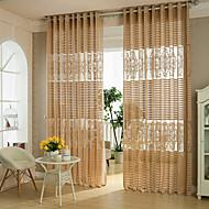 To paneler Rustikk / Moderne / Designer Geometrisk / Kurv Kaffe Stue Polyester Sheer Gardiner Shades
