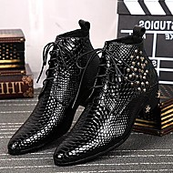 Men's Shoes Amir 2017 Pure Manual Limited Snake Lines Wedding / Office / Party Cowhide Leather  Fashion Boots Black