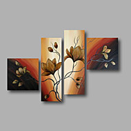 "Ready to Hang Stretched Hand-painted Oil Painting 64""x44"" Canvas Wall Art Modern Flowers Brown Magnolia"