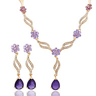 cheap Jewelry-Women's Jewelry Set Earrings Necklace - Regular Others Purple Pink For Wedding Party Special Occasion Anniversary Birthday Engagement
