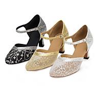 billige Moderne sko-Dame Moderne sko Blonder / Paljett / Sateng Sandaler / Høye hæler Paljett / Spenne / Blomst Kustomisert hæl Kan spesialtilpasses Dansesko Sort og Gull / Sølv / Gull / Innendørs / Ytelse / Trening
