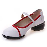 billige Moderne sko-Dame Moderne Lær Joggesko Splitt såle Utendørs Spenne Lav hæl Svart Hvit Rød 4 cm Kan ikke spesialtilpasses