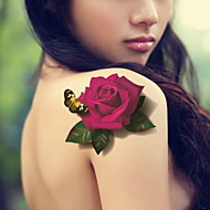 cheap Temporary Tattoos-Flowers And Butterflies Waterproof Flower Arm Temporary Tattoos Stickers Non Toxic Glitter