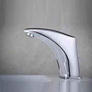 お買い得  浴室洗面ボウル用蛇口-コンテンポラリー センターセット 自動タイプ 電磁弁 一つ ハンズフリーつの穴 クロム, バスルームのシンクの蛇口