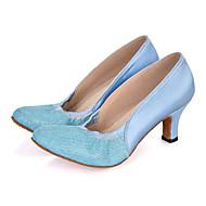 "billige Moderne sko-Dame Moderne Glimtende Glitter Sateng Sandaler Joggesko Høye hæler Ytelse Gummi Bølgemønster Utsvingende hæl Rosa Lilla Lyseblå 2 ""- 2"
