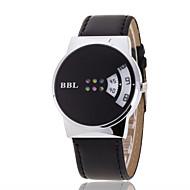Heren Polshorloge Unieke creatieve horloge Kwarts Vrijetijdshorloge Leer Band Zwart Bruin