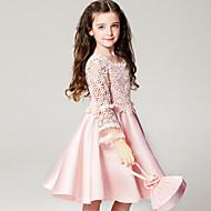Djevojka je Poliester Ljeto Dugih rukava Haljina Cvijetan Pink