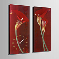 E-HOME® Red Flowers Clock in Canvas 2pcs