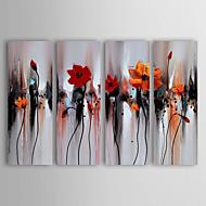 מצויר ביד פרחוני/בוטנימודרני ארבעה פנלים בד ציור שמן צבוע-Hang For קישוט הבית