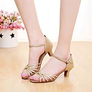 baratos Sapatilhas de Dança-Mulheres Sapatos de Dança Latina Courino Sandália Presilha Salto Personalizado Personalizável Sapatos de Dança Prateado / Dourado / Couro