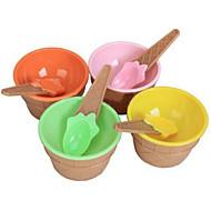プラスチックカップ食器セットスプーン環境に優しいデザート容器とかわいい子供たちのアイスクリームボウル