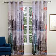 halpa -Purjerengas 2 paneeli Window Hoito Moderni , Painettu Living Room Polyesteri materiaali Läpinäkyvät verhot Shades Kodinsisustus