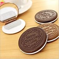 NIP ciocolată cookie-oglindă pieptene compact drăguț doamnă distracție accesoriu design creativ culoare aleatorii