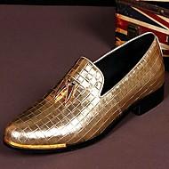 hesapli Rose Golden Sneakers-Erkek Ayakkabı Tüylü Bahar / Yaz / Sonbahar Rahat Mokasen & Bağcıksız Ayakkabılar Düğün / Parti ve Gece için Ekoseli Altın / Deri ayakkabı