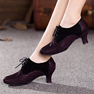 billige Moderne sko-Dame Moderne Glimtende Glitter Fløyel Syntetisk Joggesko Høye hæler Innendørs Gummi Snøring Bølgemønster Drapert Kubansk hæl Svart Lilla