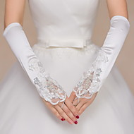 cheap Wedding Gloves-Lace Satin Elbow Length Glove Bridal Gloves Party/ Evening Gloves With Beading Sequin Appliques Embroidery