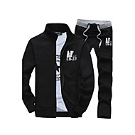 cheap -Hot Sale Two-Piece Men's Long Sleeve Set,Cotton / Polyester Solid Casual Sport Outerwear Coat