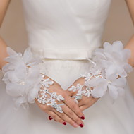 cheap Wedding Gloves-Lace Wrist Length Glove Bridal Gloves Party/ Evening Gloves With Rhinestone Embroidery Floral