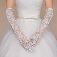 cheap Wedding Gloves-Lace Cotton Wrist Length Elbow Length Glove Charm Stylish Bridal Gloves Party/ Evening Gloves With Embroidery Solid