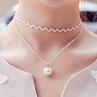 Dame Coliere Choker Bijuterii Gothic tatuaj cravată Perle Imitație de Perle Dantelă Perlă neagră Stil Tatuaj La modă Strat dublu Bijuterii