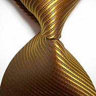 halpa -miesten muoti raidallinen bronzer jacquard kudottu solmuke solmio