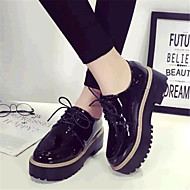 cheap Women's Oxfords-Women's Shoes Leatherette Spring Fall Platform Creepers Lace-up for Casual Outdoor Black Burgundy