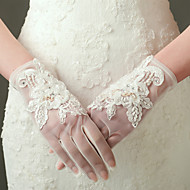 cheap Wedding Gloves-Nylon Elastic Satin Wrist Length Glove Bridal Gloves Party/ Evening Gloves With Beading Appliques