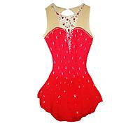 Χαμηλού Κόστους -Φόρεμα για φιγούρες πατινάζ Γυναικεία / Κοριτσίστικα Patinaj Φορέματα Κόκκινο Τεχνητό διαμάντι Επίδοση Ενδυμασία πατινάζ Χειροποίητο Κλασσικά Μακρυμάνικο Πατινάζ Πάγου / Πατινάζ για φιγούρες