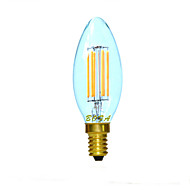 billige Stearinlyslamper med LED-1pc 3W 300 lm E14 E12 E26/E27 LED-lysestakepærer C35 4 leds COB Mulighet for demping Dekorativ Varm hvit 2200/2700/3000 K AC 220-240 AC