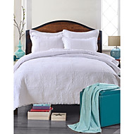 100% Cotton Floral White Quilted Bedspread set,King Size