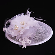 cheap Wedding Headpieces-Tulle Flax Imitation Pearl Lace Feather Fascinators 1 Wedding Special Occasion Casual Outdoor Headpiece