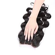08inch-20inch Doğal Siyah (#1B) Komple Dantel / El Bağlaması Vücut Dalgası Gerçek Saç kapatma Orta Kahverengi İsveç Danteli 20g-60g gram