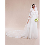 Two-tier Lace Applique Edge Wedding Veil Cathedral Veils with 157.48 in (400cm) Lace