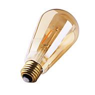 3W E26/E27 Lâmpadas de Filamento de LED ST64 2 leds COB Decorativa Branco Quente 180lm 2200K AC 220-240V