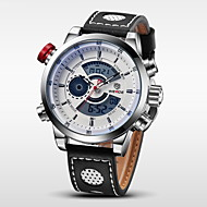 billige Militærur-WEIDE Herre Quartz Digital Japansk Quartz Digital Watch Armbåndsur Alarm Kalender Kronograf Vandafvisende Dobbelte Tidszoner LCD Læder