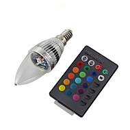3W E14 LED-lysestakepærer C35 1 leds Høyeffekts-LED Fjernstyrt Dekorativ RGB 200-250lm RGBK AC 220-240 AC 110-130V